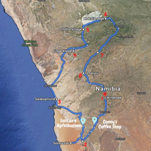 Roadtrip Reiseroute Route Namibia Afrika Africa Wildlife